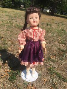 "Unmarked Vintage 1950's 28""doll and dress Hard Plastic HP Walker Doll Sleep Eyes"