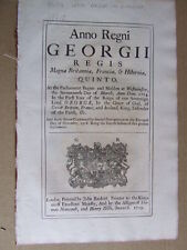 Import & Export of Fish, Preservation of Lobster Fry.  1736. Act of Parliament.