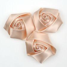DIY5/100PC Satin Ribbon Rose Flower 50mm Craft/Wedding Appliques Clothing Sewing