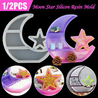 1/2X DIY Silicone Moon Jewelry Storage Resin Casting Mold Epoxy Mould Craft Tool