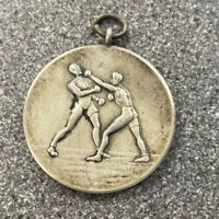 Antique/vintage Large Sterling Silver 925 Albert Chains Watch Fob Medal Boxing