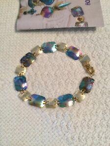 Holly Yashi Niobium Bracelet Links Teal Gold Silver Blue Colors w.legend/box EUC