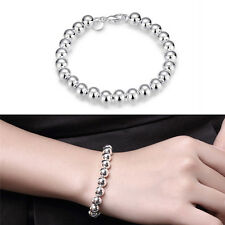 Women Jewelry 925 Silver Plated Beads String Chain Bracelet Bangle