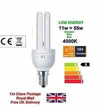 11W Low Energy Power Saving CFL Stick Light Bulbs Lamp, Screw Cap E14 SES