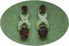 Silver Garnet & Diamond Earrings 18 Kt Gold Over Sterling