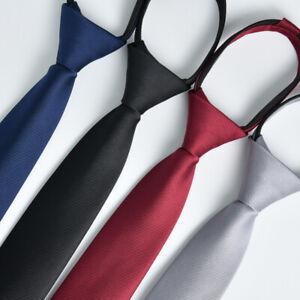 6cm Men's Plain Color Tie Skinny Necktie Slim Narrow Zip Up Neck Ties Useful Tie