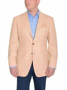 Sartoria Partenopea Italy 40R 50 EUR Peach Plaid Cotton Mohair Wool Sport Coat