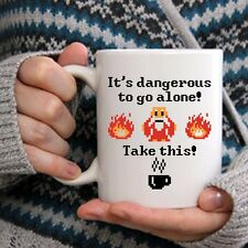 Awesome Gamer Mug - Dangerous To Go Alone Coffee & Teacup - Great Videogame Gift
