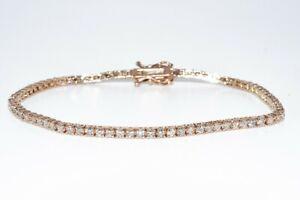$6,000 2.45CT NATURAL ROUND CUT WHITE DIAMOND TENNIS BRACELET 14K ROSE GOLD