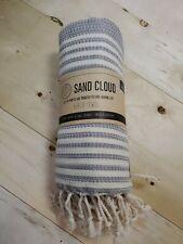 Sand Cloud Turkish Blue and Ivory Cotton Beach Towel