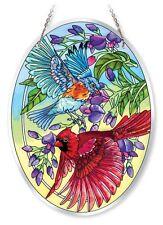 """AMIA STAINED GLASS SUNCATCHER 6.5"""" X 9"""" OVAL UNFURLING GLORY BIRDS #41582"""