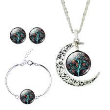Silver Plated Mood Necklace Earrings Bracelet Black Tree Jewelry Sets For Women