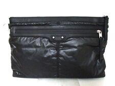 Authentic BALENCIAGA Black 528147 Nylon Leather Clutch Bag