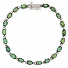 "11.00ctw Oval Cut Green Tourmaline Bracelet 6 1/2"" - 14k White Gold Tennis"