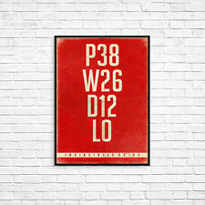 Arsenal Invincibles Record A4 Art Poster Retro Vintage Style Print Typography