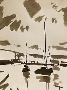 JOSE TRUJILLO - ABSTRACT EXPRESSIONISM INK WASH on Paper Lake Sailboats Tonalism