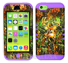 For Apple iPhone 5c KoolKase Hybrid Armor Silicone Cover Case - Camo Mossy Deer
