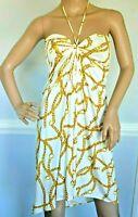 CELINE Spring 2004 Michael Kors Vintage Chain Link White Gold Dress US 2 4 FR 36