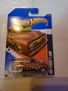2011 Hot Wheels #93 Heat Fleet 3/10 '56 Ford F-100 Brown Variation w/Gold 5Spoke