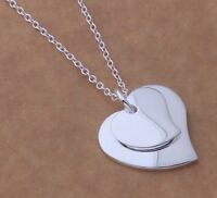 Stunning 925 Sterling Silver Double Heart Charm Pendant Necklace Women Jewelry
