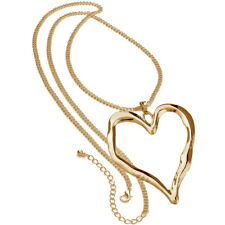 Gold plated long curb chain very large heart pendant fashion jewellery necklace