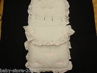 BEAUTIFUL. PRAM  COSYTOES  / FOOTMUFF  COLOUR  WHITE / BABY PINK  BOWS