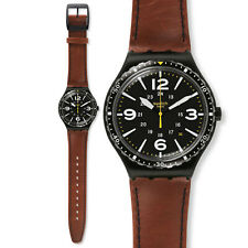 Swatch Irony Men's Watch Black Steel Leather Brown Collection Special Unit