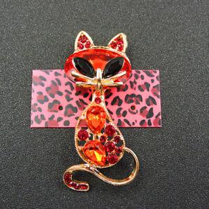 Fashion Red Rhinestone Crystal Cute Cat Betsey Johnson Charm Brooch Pin