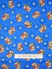 FLANNEL Fabric - Christmas Nursery Teddy Bear & Snowflake Blue AE Nathan Yard