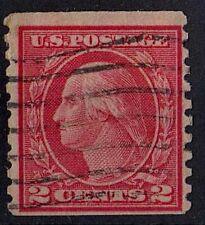 US 1914 Scott # 444 George Washington first President 2 Cent Carmine STAMP