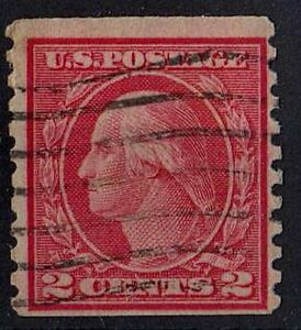US 1914 Scott # 444 George Washington first President 2 Cent Carmine STAMP