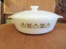 1968-76 FIRE KING GREEN MEADOW 1.5 QT COVERED CASSEROLE