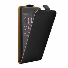SLIM BLACK Leather Flip Case Cover Pouch For Mobile Phone Sony Xperia XA