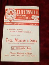 Cliftonville V Linfield Programme no date circa 1958 Irish League VG Cond
