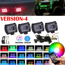 4x 4inch Bluetooth RGB Chasing Halo LED Work Light Bar Kit Offroad ATV SUV TRUCK
