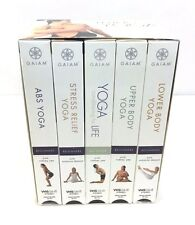 Gaiam LIVING YOGA Collection 5 VHS Videos Mind & Body Fitness Relieve Stress