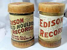 Antique Blue Cylinder Records Edison Italian Fantasia & Alexander Rag Time W/Box