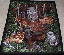 Forest Animals Wood Haven Quilt top Wall hanging Panel Fabric Cotton Wolf Owl