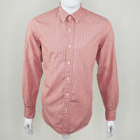 Nautica Men's Pink Blue Striped 100% Cotton Long Sleeve Button Down Size Small S