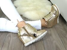 Sneakers  WEDGE HIGH TOP SNEAKERS TRAINERS Gold   !@!