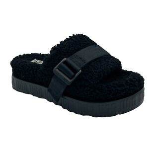 UGG FLUFFITA BLACK SHEEPSKIN FLUFF SLIDE PLATFORM SANDALS WOMEN'S US SIZE 5