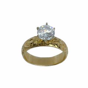 Hawaiian Heirloom Jewelry 14k Gold 5mm Cubic Zirconia Wedding Engagement Ring