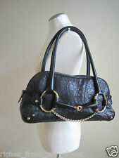 Vintage GUCCI Black Ostrich Horsebit Shoulder Handbag Bag