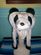 PANDA BEAR White Black Plush Fur Animal HOODIE HAT winter ear flap cap