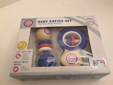 Baby Rattle Set Chicago Cubs. Real Wood