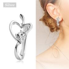 Elegant Women Silver 925 Heart Crystal Zircon Party Wedding Earring Jewelry