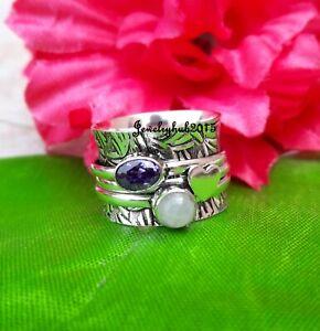 Moonstone Spinner Ring 925 Sterling Silver Ring Handmade Ring Size 12 SA3201