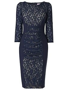 Stunning Phase Eight Stephania Navy Lace Panelled Evening Occasion Dress Sz 12