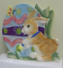 Fitz & Floyd Bunny Painting Easter Eggs canape plate
