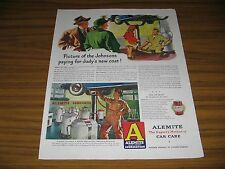 1948 Print Ad Alemite Lubrication Mechanic Works on Car on Lift in Garage